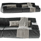 Damasco Paola Navone Black Leather Sofa