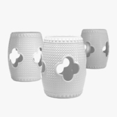 Kathy Kuo home gaoi global bazaar floral porcelain stool