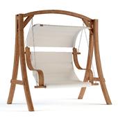 Wooden Garden Swing with Beige Canopy - Othon