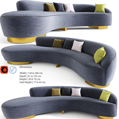 FreeForm Curved Sofa with Arm by Vladimir Kagan
