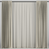 Beige curtains in two colors with tulle.
