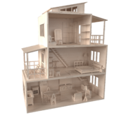 Dollhouse of plywood.