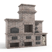 Barbecue stove made of bricks
