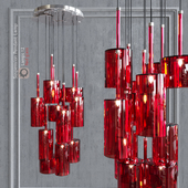 Pendant lamp AXO Light Spillray SP lamps 12 red glass
