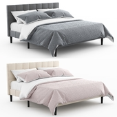 Colby upholstered platform tufted Bed by Allmodern | gray and beige