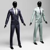Мужской классический костюм в двух вариантах violet/silver