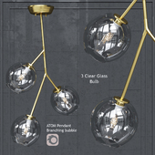 Pendant lamp Nuevo Bulb chandelier Atom 3 Pendant Clear Glass Shade Gold Body