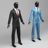 Мужской классический костюм в двух вариантах black/blue