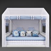 Кровать – домик Casinha Montessorian и балдахин в кроватку Friends Safari Blue