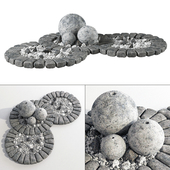 Flowerbed with stone decor / flowerbed with stone decor