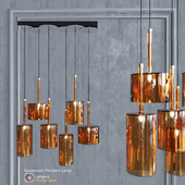 Pendant lamp AXO Light Spillray SP lamps 6 glass orange