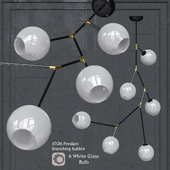 Pendant lamp Branching bubble Nuevo chandelier Atom 6Bulb Pendant White Glass Shade Matte Black Body