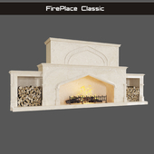 Classic fireplace with oriental ornament