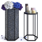 Hydrangea vase and candles