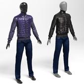Men's jacket polyamide black / purple