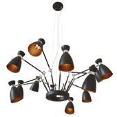 FARO barcelona, RETRO Black and copper pendant lamp 12L