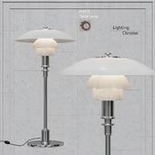 Table lamp Louis Poulsen chrome PH3 / 2 white glass