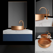 Bronze and blue bathroom