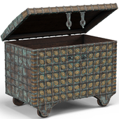 Green Vintage Indian Dowry Trunk