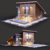 Дом с двухуровневой односкатной крышей