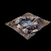 3D scan stone wood fireplace