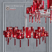 Chandelier AXO Light Spillray SP lamps 20 red glass