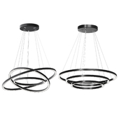 Modern 32-Inch Triple Ring LED Pendant Light Black Finish