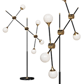 Floor lamp Baton FLOR LAMP black / gold 5 white shades