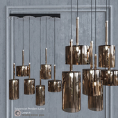Pendant lamp AXO Light Spillray SP lamps 6 glass metallic bronze