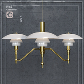 Chandelier Louis Poulsen PH3 / 2 Academy Ceiling Lamp Gold