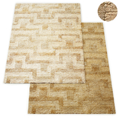 Wabi-Sabi Hand-Knotted Geo Jute Rug RH Collection
