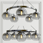 Solitaire Gray Handblown Glass Chandelier