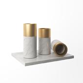 Marble Golden Metal Vase