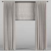 Коричневые шторы с римской.