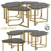 Donghia Forma Table with Satin Brass Base (low poly)
