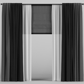 Dark curtains with tulle and roman.