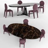 Longhi Damsel chair and Longhi Rim table