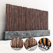 Bamboo decor gravel pebble fundament / Декор из бамбука с галькой на основании