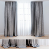 Curtains grey with tulle 001| Шторы современные 001