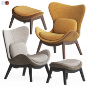 Calligaris lazy Armchair & Pouf Set