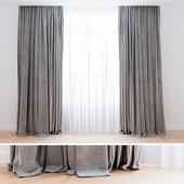 Curtains grey velvet with tulle| Шторы современные