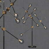 Floor lamp Baton FLOR LAMP black / gold 8 clear glass shades