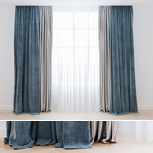 Curtains blue with tulle| Шторы современные