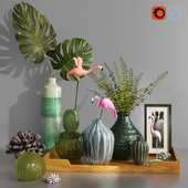 Decorative Tropical Flamingo Set
