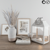 Decorative-set Blue Wheat & Lantern