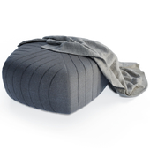 Grey Pouffe and Blanket