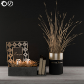 Decorative Black & Gold with Wheat