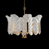 Chandelier Glass Leaves & Brass Chandelier by Carl Fagerlund for Orrefors