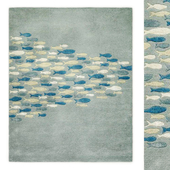 School Pastel Blue Area Rug