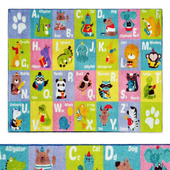 Multi-Color Kids ABC Alphabet Animal Area Rug